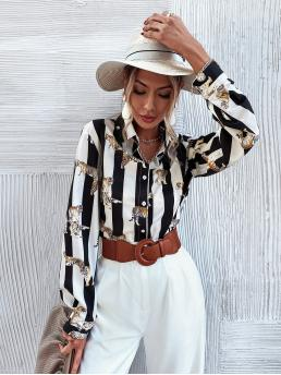 Affordable Long Sleeve Shirt Button Front Polyester Striped & Tiger Print Button up Blouse