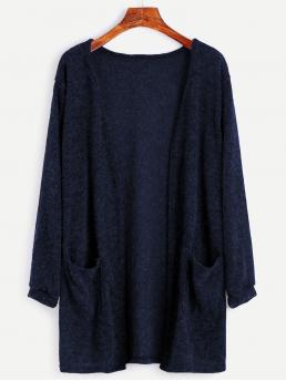 Casual Cardigan Plain Regular Fit Long Sleeve Navy Longline Length Open Front Cardigan With Pockets