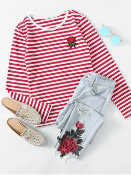 Casual Striped and Floral Regular Fit Round Neck Long Sleeve Regular Sleeve Pullovers Red Regular Length Rose Patch Striped Tee