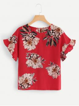 Boho Floral Top Regular Fit Round Neck Short Sleeve Pullovers Red Regular Length Floral Print Ruffle Top