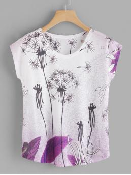 Casual Plants Regular Fit Round Neck Short Sleeve Batwing Sleeve Pullovers Multicolor Regular Length Dandelion Print Dolman Sleeve Tee