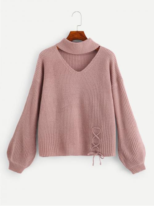 Casual Cut Out and Lace Up Plain Pullovers Regular Fit V Neck Long Sleeve Pullovers Pink Regular Length Choker Neck Lace-Up Detail Sweater