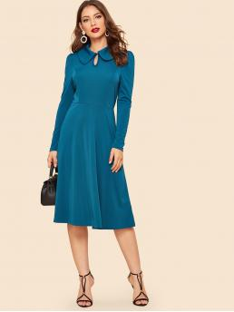 Vintage A Line Plain Flared Regular Fit Peter Pan Collar and Keyhole Neckline Long Sleeve Puff Sleeve Natural Blue Midi Length Keyhole Front Fit & Flare Dress