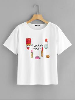 Casual Letter and Cartoon Regular Fit Round Neck Short Sleeve Pullovers White Regular Length Lipstick & Slogan Print Pullover Tee