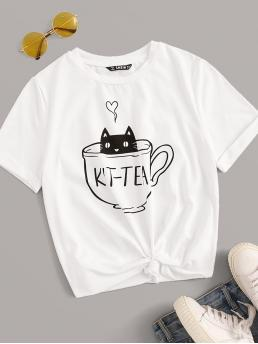 Casual Letter and Cartoon Slim Fit Round Neck Short Sleeve Roll Up Sleeve Pullovers White Regular Length Cartoon Print Rolled Cuff Tee