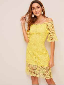Romantic Plain Slim Fit Off the Shoulder Short Sleeve Flounce Sleeve High Waist Yellow Short Length Off-shoulder Guipure Lace Dress with Lining