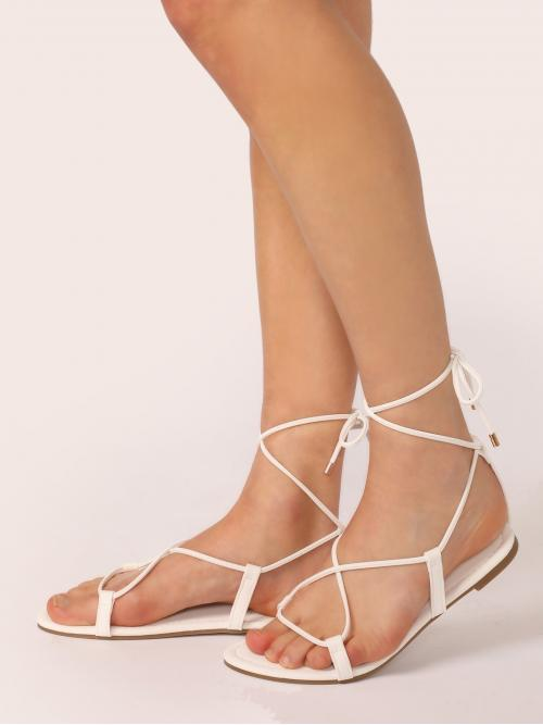 Comfort Open Toe Strappy White Ankle