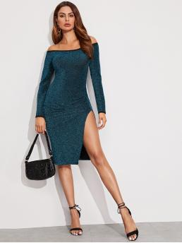 Glamorous and Sexy Bodycon Plain Slit Slim Fit Off the Shoulder Long Sleeve Regular Sleeve Natural Green Midi Length Split Thigh Ruched Glitter Dress
