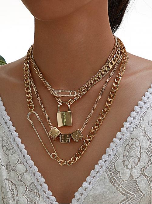 Casual Layer Sets and Chain Necklaces Gold Lock & Safety Pin Decor Layered Necklace 1pc