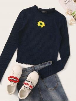 Casual Floral Slim Fit Round Neck Long Sleeve Regular Sleeve Pullovers Navy Crop Length Embroidered Sunflower Lettuce Edge Rib-knit Tee