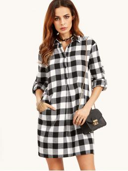 Preppy Shirt Gingham Straight Collar Long Sleeve Roll Up Sleeve Natural Black and White Short Length Checkered Roll Tab Sleeve Shirt Dress