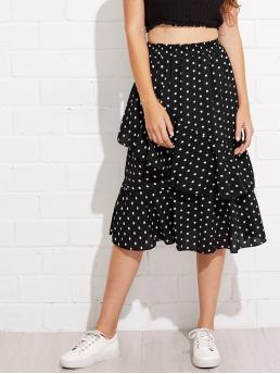 Casual Layered/Tiered Polka Dot Mid Waist Black Long/Full Length Tiered Layer Polka Dot Midi Skirt