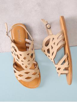 Sale Corduroy Apricot Strappy Sandals Cut out Flat Sandals