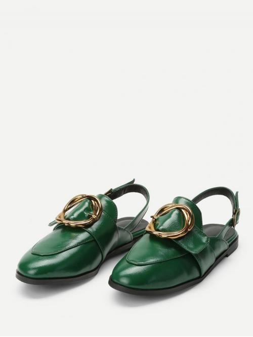 Dark Green Slingbacks Buckle Round Toe Design Slingback Flats Trending now