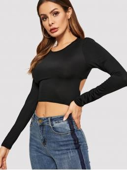 Sexy Plain Slim Fit Round Neck Long Sleeve Pullovers Black Crop Length Belted Open Back Fitted Top