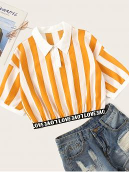 Casual Striped and Letter Top Regular Fit Collar Short Sleeve Regular Sleeve Half Placket Yellow Crop Length Letter Print Striped Crop Blouse