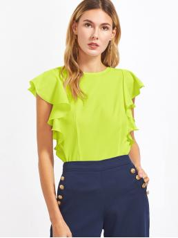 Casual Plain Top Regular Fit Round Neck Cap Sleeve Butterfly Sleeve Pullovers Green and Bright Regular Length Neon Lime Ruffle Armhole Top