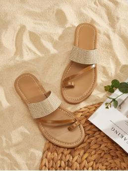 Boho Open Toe Khaki Toe Ring Flat Sandals