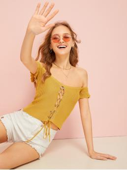 Boho Plain Slim Fit Off the Shoulder Cap Sleeve Pullovers Yellow Crop Length Ribbed Lace-up Off The Shoulder Tee