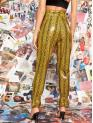 Glamorous Snakeskin Print Tapered/Carrot Regular Button Fly Mid Waist Yellow Long Length Wide Waistband Buckle Hem Snakeskin Leather Look Pants