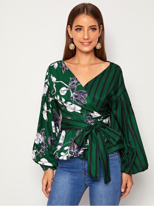 Elegant Striped and Floral Flared Peplum Regular Fit V neck Long Sleeve Bishop Sleeve Placket Green Regular Length Striped & Floral Print Belted Blouse with Belt