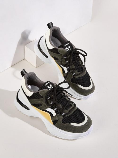 Comfort Round Toe Multicolor Lace-up Front Suede Panel Chunky Sneakers