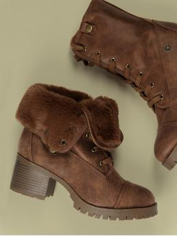 Business Casual Almond Toe Plain Short No zipper Brown Mid Heel Chunky Lace Up Faux Fur Cuff Climbing Boots