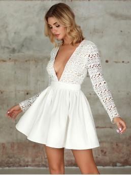 Glamorous and Sexy Fit and Flare Plain Flared Regular Fit Deep V Neck Long Sleeve Regular Sleeve High Waist White Short Length Double Crazy Deep V Neck Guipure Lace Fit & Flare Dress
