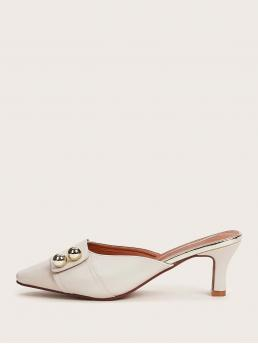 Business Casual Square Toe Plain White Mid Heel Chunky Point Toe Chunky Heeled Mules