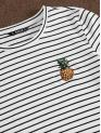 Casual Striped and Fruit&Vegetable Regular Fit Round Neck Short Sleeve Regular Sleeve Pullovers White Regular Length Embroidery Pineapple Striped Tee