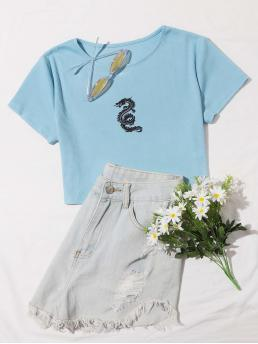Casual Animal Regular Fit Round Neck Short Sleeve Regular Sleeve Pullovers Baby Blue Crop Length Dragon Print Rib-Knit Crop Tee