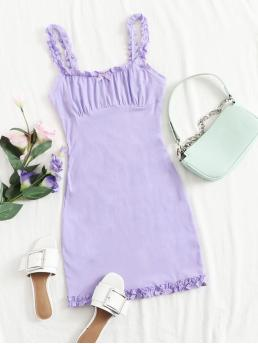 Womens Lilac Purple Plain Ruched Bust Spaghetti Strap Ruched Bow Mini Dress