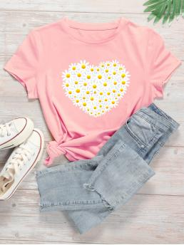 Casual Floral and Heart Regular Fit Round Neck Short Sleeve Regular Sleeve Pullovers Baby Pink Regular Length Daisy Floral Print Tee