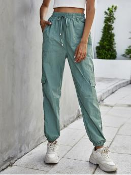 Womens Mint Green High Waist Pocket Cargo Pants Flap Side Cargo Pants
