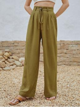 Affordable Olive Green High Waist Zipper Wide Leg Solid Belted Pants