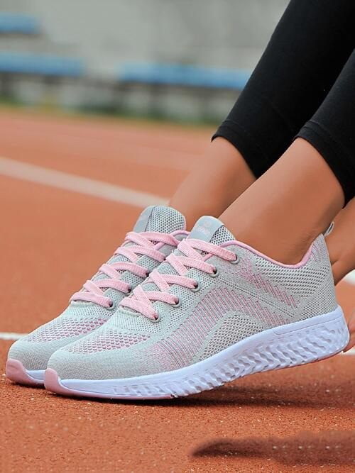 Women's Light Grey Fabric Md Mesh Lace-up Front Running Shoes