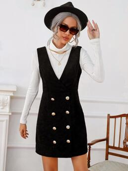 Black Plain Zipper V Neck 1pc Double Breasted Dress Without Sweater Shopping