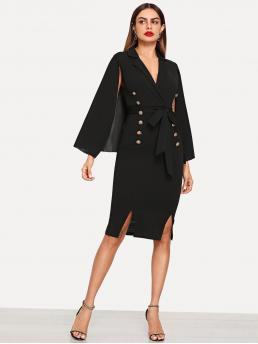 Elegant Dress Plain Slit Slim Fit Notched Cloak Sleeve Double Breasted Black Cape Sleeve Double Breasted Dress