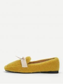 Loafers Square Toe Yellow Contrast Bow Decorated Fuzzy Flats