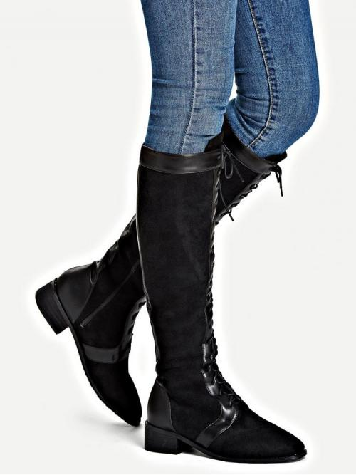 Corduroy Black Stretch Boots Studded Lace-up Front Boots Discount