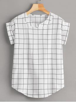 Casual Plaid Top Regular Fit V neck Short Sleeve Roll Up Sleeve Pullovers White Regular Length Window Pane Plaid Rolled Cuff Blouse