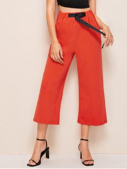Sporty Plain Wide Leg Loose Elastic Waist High Waist Orange Cropped Length Neon Orange Buckle Belted Wide Leg Pants with Belt