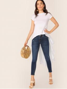 Casual Plain Regular Fit Round Neck Short Sleeve Pullovers White Longline Length Crew Neck Asymmetric Tail Hem T-Shirt