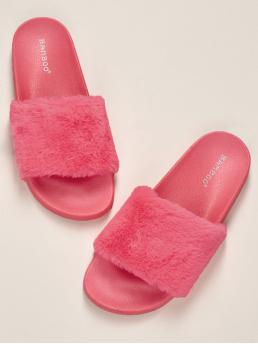 Comfort Open Toe Plain Hot Pink and Bright Neon Faux Fur Wide Band Chunky Sole Slides