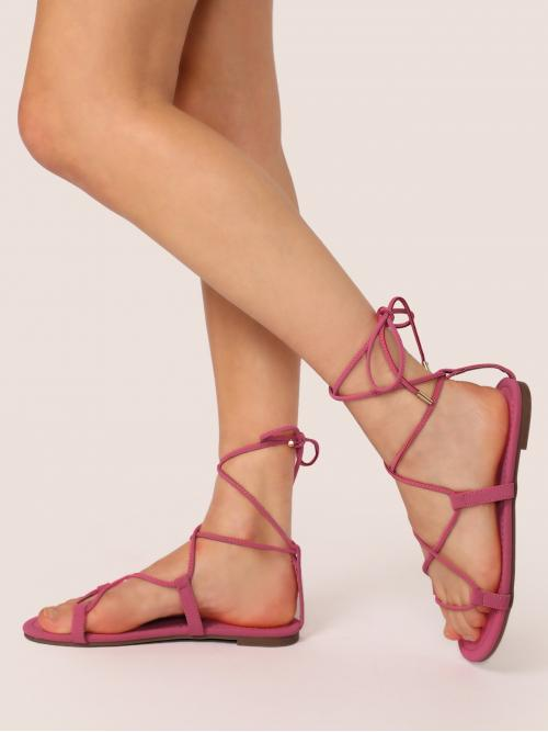 Comfort Open Toe Strappy Hot Pink Lace