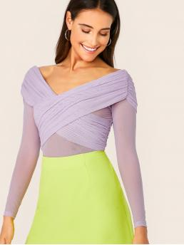 Elegant Plain Top Slim Fit Sweetheart Long Sleeve Regular Sleeve Pullovers Purple and Pastel Regular Length Crisscross Front Ruched Back Mesh Overlay Sweetheart Top