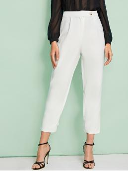 Casual Tapered/Carrot Plain Regular Button Fly High Waist White Cropped Length Solid Button Detail High Waist Pants