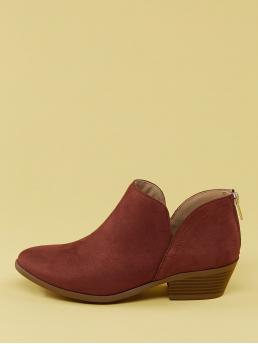 Business Casual Chelsea Boots Plain Back zipper Burgundy Mid Heel Chunky Split Shaft Almond Toe Ankle Booties