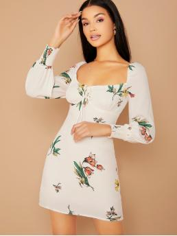 Elegant A Line Floral Regular Fit Square Neck Long Sleeve Bishop Sleeve High Waist White Mini Length Sweetheart Neckline Long Sleeve Floral Dress with Lining