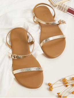 Comfort Open Toe Ankle Strap Gold Metallic Buckle Strap Flat Sandals